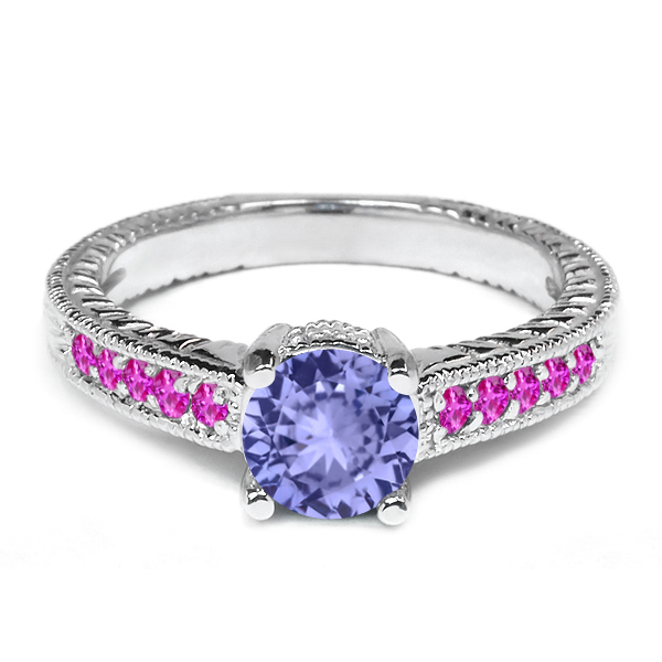 1.08 Ct Round Blue Tanzanite Pink Sapphire 14K White Gold Engagement Ring