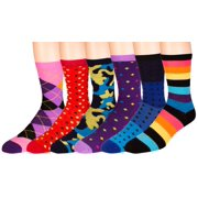 Men's Pattern Dress Funky Fun Colorful Socks 6 Assorted Patterns Size 10-13 (6 Pairs)