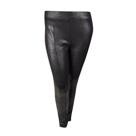 INC International Concepts Women's Crackle Coated Pants (14, Deep Black)