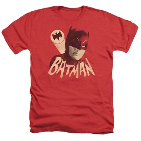 Trevco Batman Classic Tv-Bat Signal - Adult Heather Tee - Red, Small