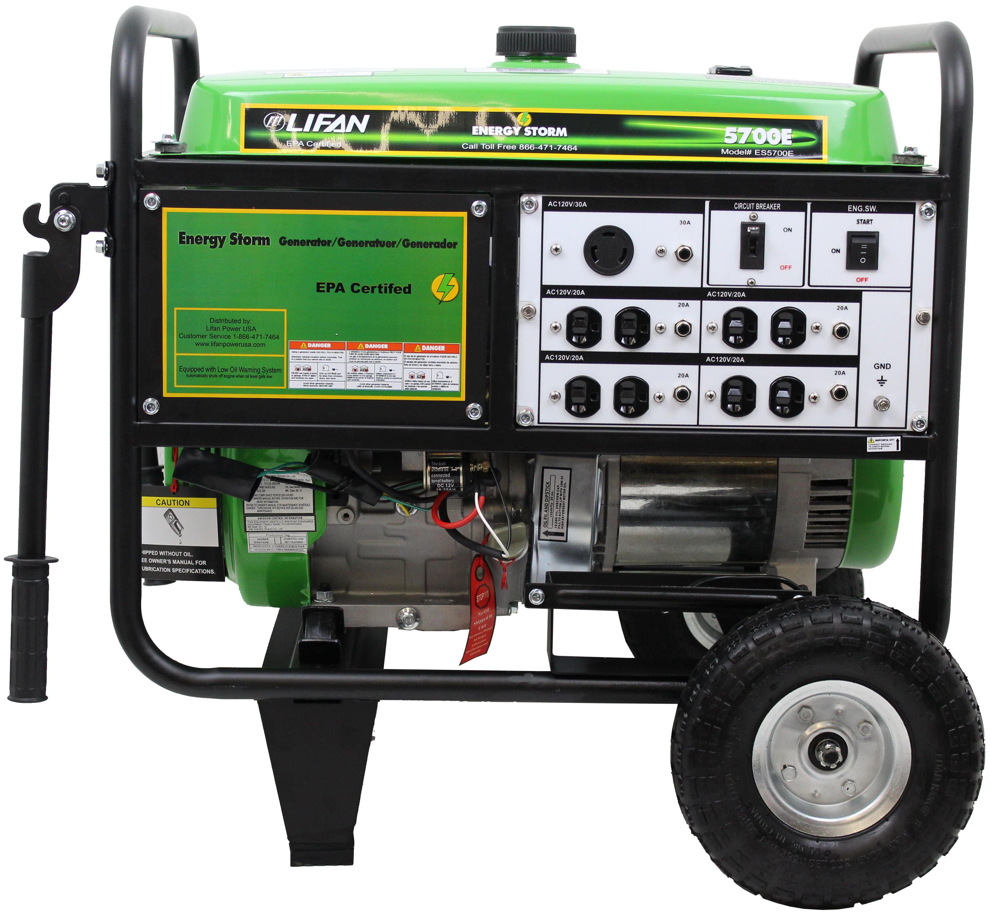 Lifan Energy Storm 5700E, 13hp 389cc, 4-Stroke Industrial Grade, Keyless  Push Button Electric/Recoil Start, Gasoline Powered Portable Generator -  Walmart.com - Walmart.comWalmart