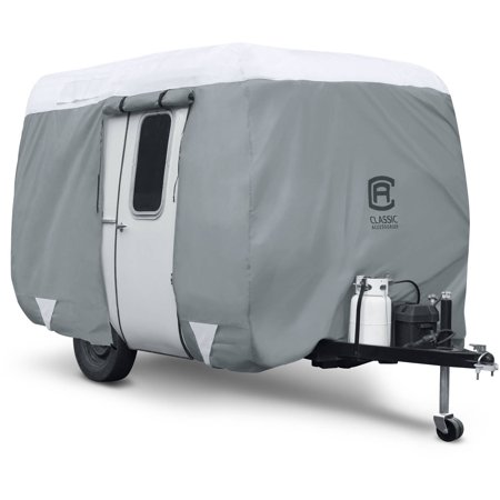 Classic Accessories OverDrive PolyPRO™ 3 Molded Fiberglass Travel Trailer Cover, Fits 8' - 10' Trailers - Max Weather Protection RV Cover, Grey/Snow
