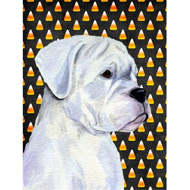 Carolines Treasures SS4302CHF Boxer White Candy Corn Halloween Portrait Canvas Flag - House Size, 28 x 40 in. - image 1 de 1
