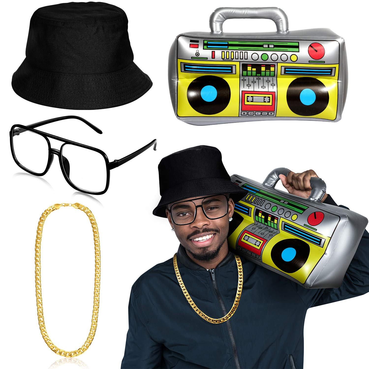 Hip Hop Costume Kit Includes Bucket Hat Sunglasses Faux Gold Chain Inflatable Mobile Phone 80s 90s Hip Hop Cool Rapper Outfits Costume Accessories