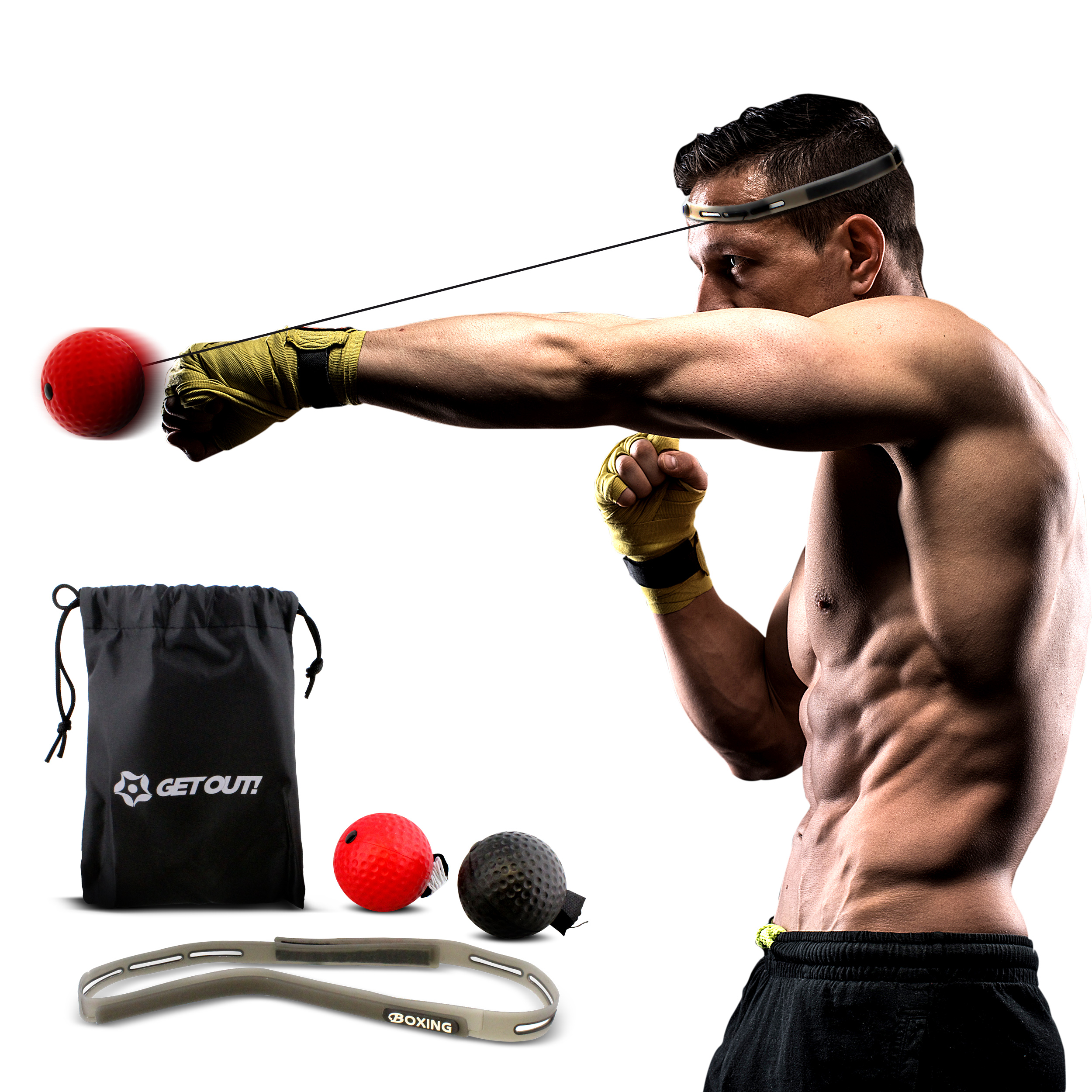 Get Out!™ Boxing Reflex Ball Set – Reaction Ball – Agility Training Boxing Ball