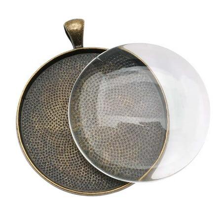 Brass Set Pendant - Antique Brass Color Round Bezel With Glass Round Cabochon 38mm - Pendant Set