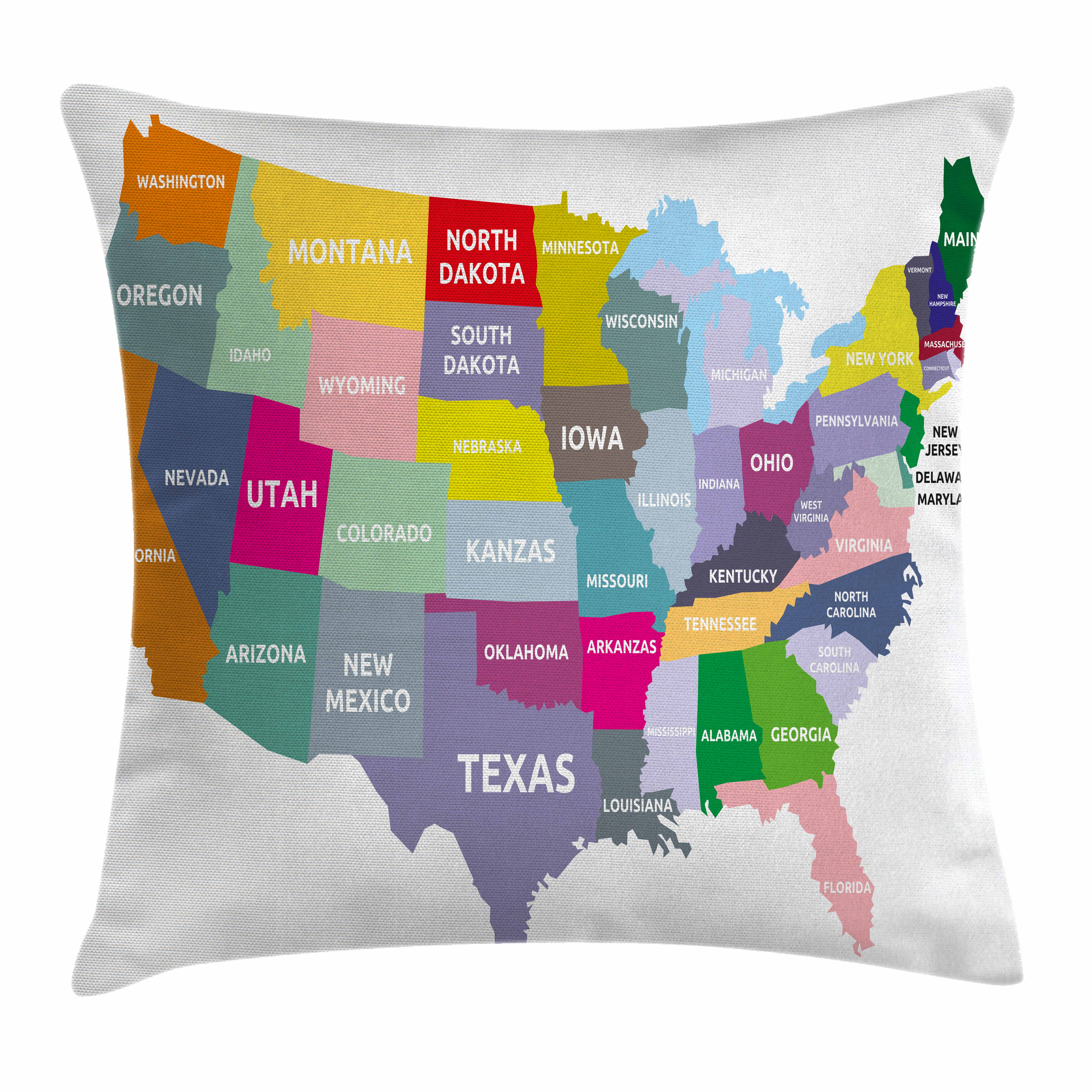 Map Throw Pillow Cushion Cover, USA Map with Name of States in