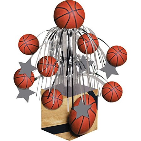 Sports Fanatic Basketball Centerpiece with Mini Cascade and Base, Orange, Centerpiece table decoration By Creative
