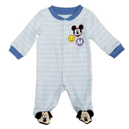 Disney Baby Infant Boys Blue Striped Mickey Mouse Sleep & Play Pajama Sleeper - Disney Baby Boy Clothes