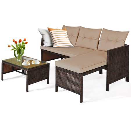 Costway 3PCS Patio Wicker Rattan Sofa Set Outdoor Sectional Conversation Set Garden Lawn - image 1 of 9