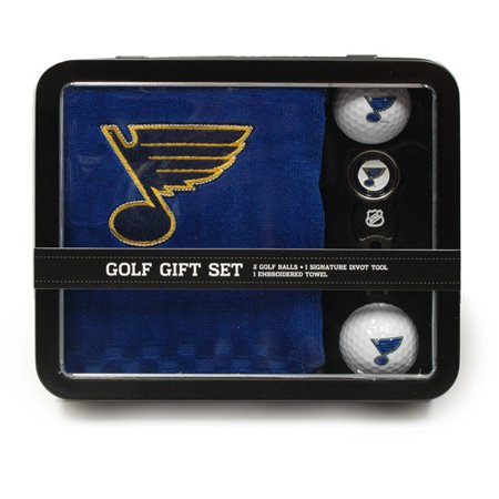 Team Golf NHL St. Louis Blues Embroidered Golf Towel, 2 Golf Balls and Divot Tool Set
