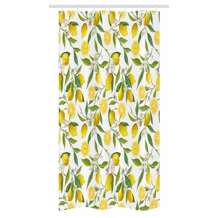 Nature Stall Shower Curtain Exotic Lemon Tree Branches Yummy Delicious Kitchen Gardening Design Fabric
