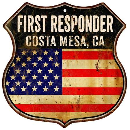 COSTA MESA, CA First Responder American Flag 12x12 Metal Shield Sign S122520 ()