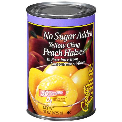 Great Value: Fruit Peach Halves Yellow Cling No Sugar Added Prepared Food, 15 oz