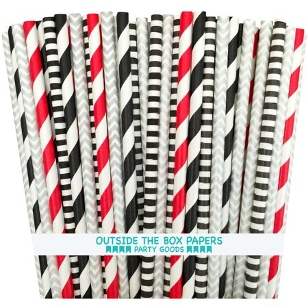Red, Black, Silver and White Star Wars Theme Paper Straws 100 - White Straws