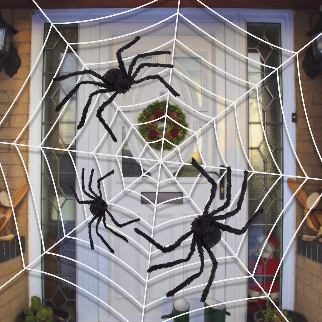 Giant Spider Web With Three Realistic Looking Hairy Spiders   Outdoor  Halloween Decorations Props Halloween DIY