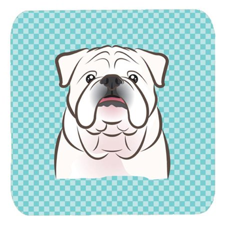3.5 x 3.5 In. Checkerboard Blue White English Bulldog Foam Coasters, Set Of 4 - image 1 of 1