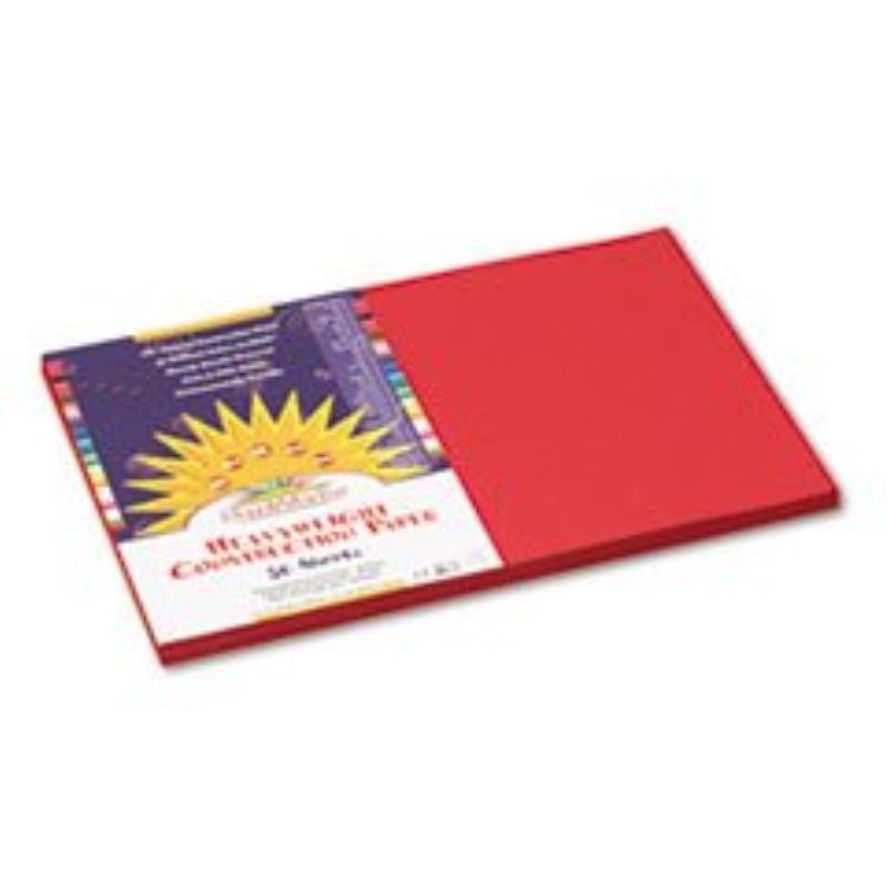 SunWorks Construction Paper, 58 lbs., 12 x 18, Red, 50 Sheets/Pack