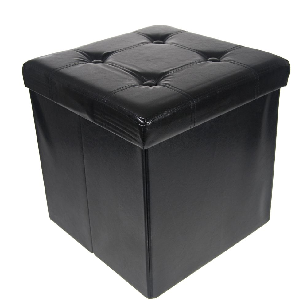 Storage Ottoman Faux Leather Collapsible Foldable Seat Foot Rest