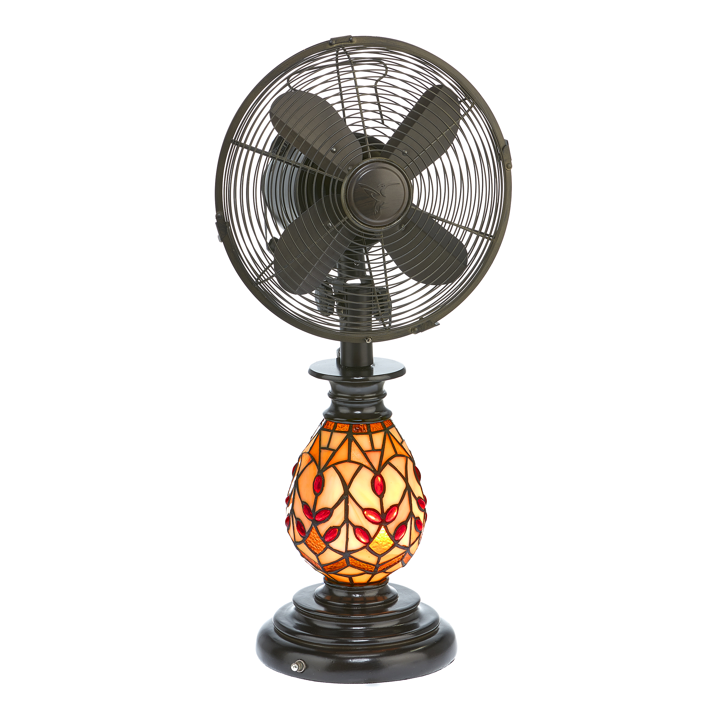 DecoBREEZE Oscillating Table Fan and Tiffany Style Table Lamp, 3-Speed Circulator Fan, 10-Inch, Edwardian