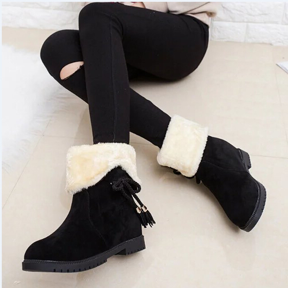 Womail Snow Boots Winter Ankle Boots Women Shoes Heels Winter Boots Fashion Shoes BK/36