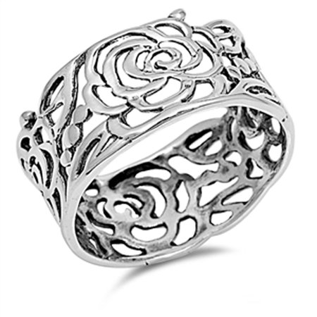 925 Silver Flower Ring (Women's Rose Flower Wrap Cutout Ring New .925 Sterling Silver Band Size 12 )