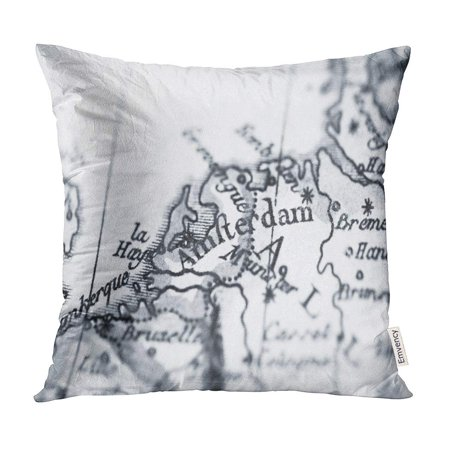 1780 Transport Case - ECCOT Amsterdam Antique Old Map Netherlands World 1780 Producer Pillow Case Pillow Cover 18x18 inch
