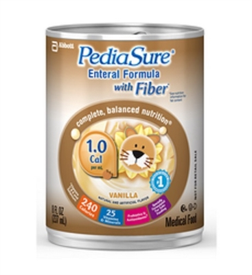 PediaSure with Fiber Tube Feeding Formula, Vanilla, 8 Ounce Can, Abbott 51806 - Case of 24