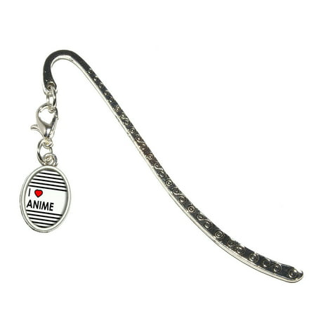 I Love Heart Anime Oval Charm Metal Bookmark (I Heart Anime)