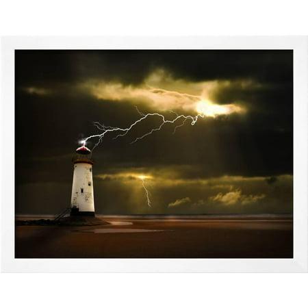 Lighthouse on Welsh Coast Struck by Lightning Bolt Framed Print Wall ...