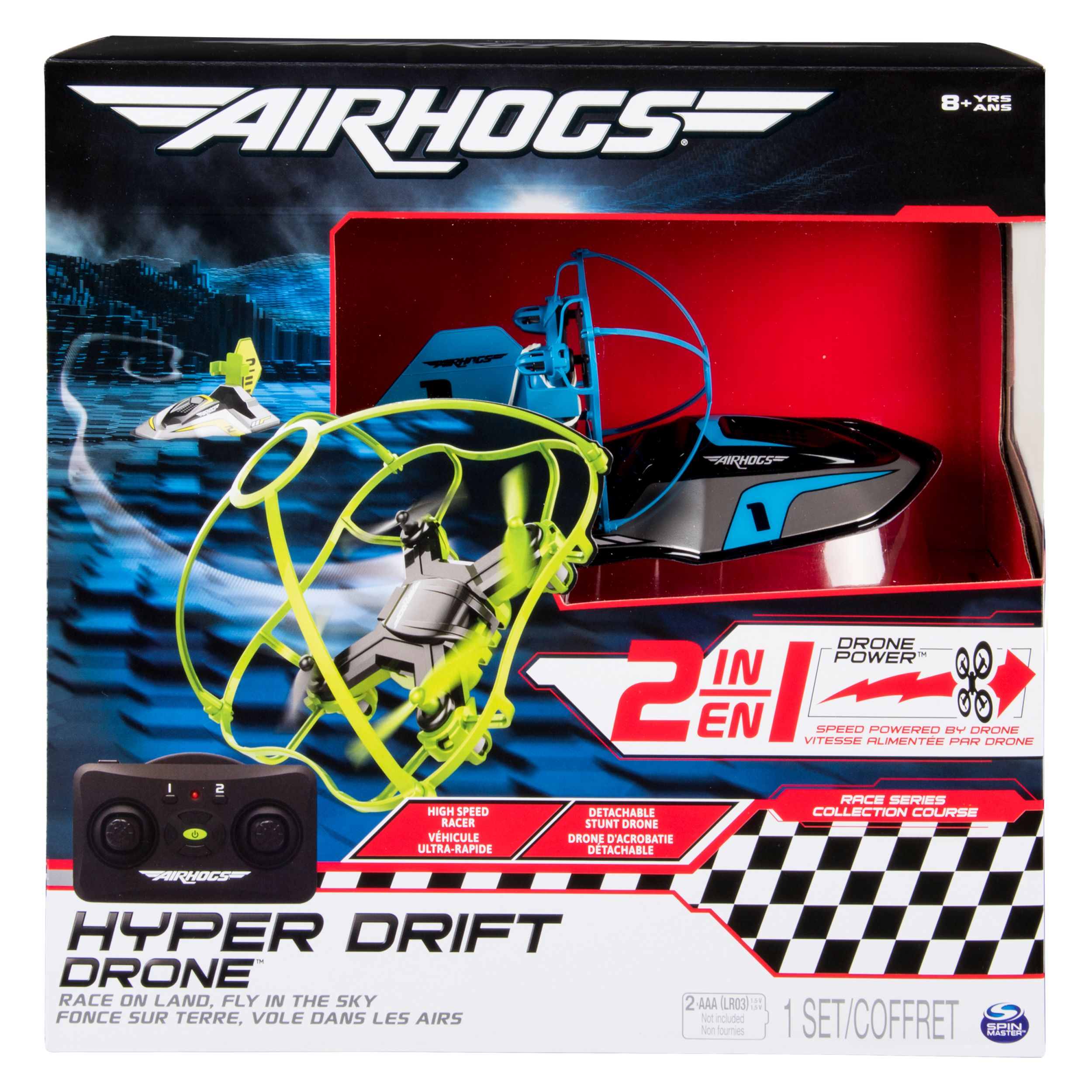 Air Hogs 2 In 1 Hyper Drift Drone For High Speed Racing And Flying Blue