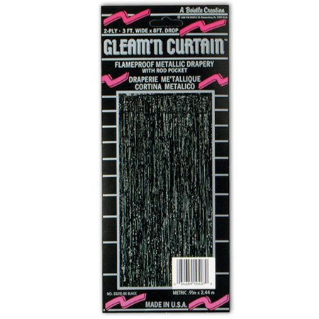 Pack of 6 Festive Metallic Black Hanging Gleam'n Curtain Party Decorations 8'](New Years Decorations)
