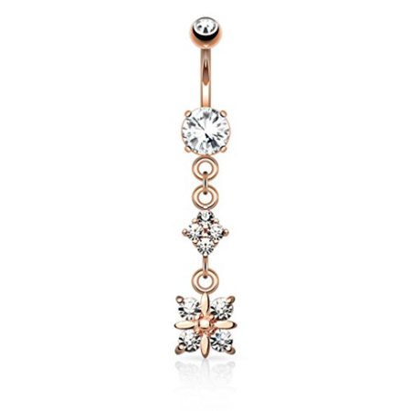BodyJ4You® Alluring Flower Belly Button Ring Rose Goldtone (Alluring Rose)