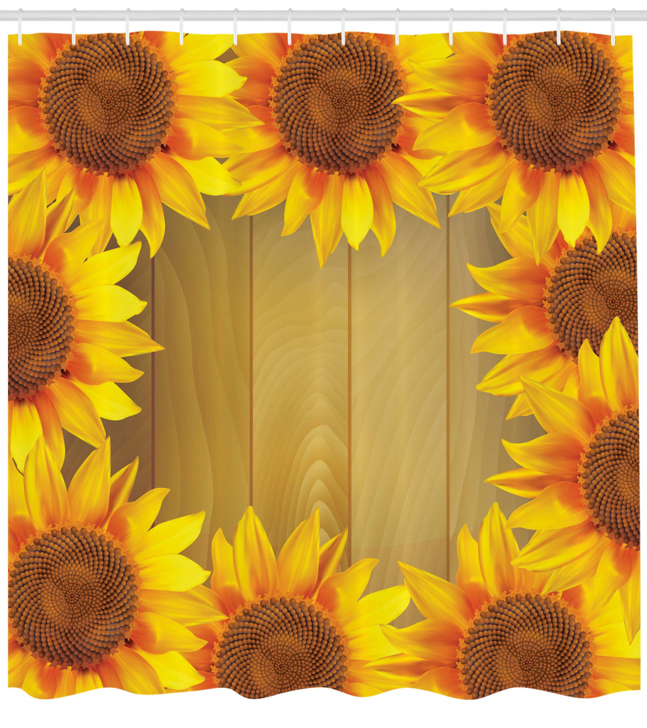 Sunflower Shower Curtain Sunflower Arranged In A Circle On A Wooden Background Flower Frame Illustration Fabric Bathroom Set With Hooks Brown