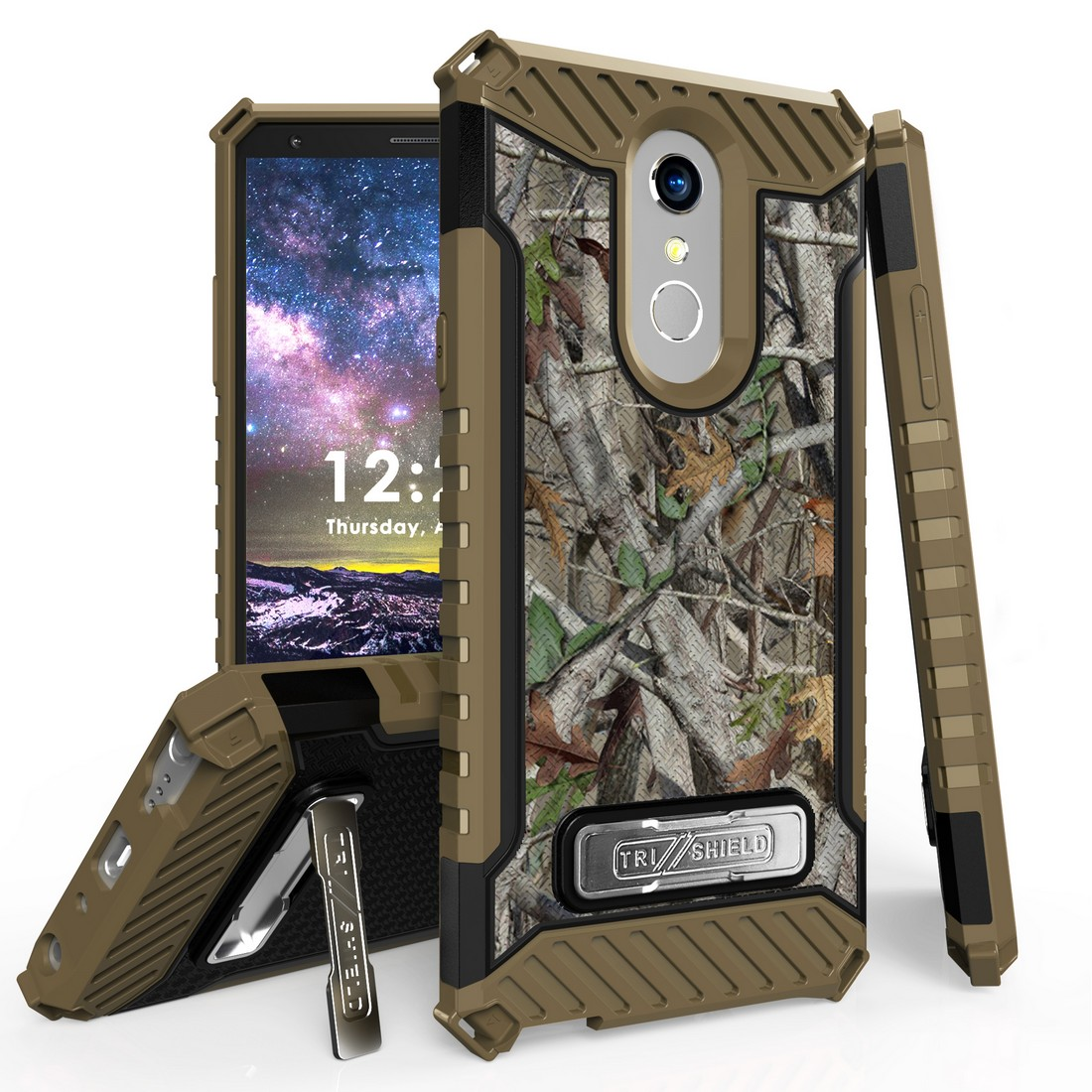 Beyond Cell Rugged Military Grade Drop Tested [MIL-STD 810G-516.6] Kickstand Cover Case and Atom Cloth for LG Stylo 4+ Plus/LG Stylo 4 (2018) - Tree Camo
