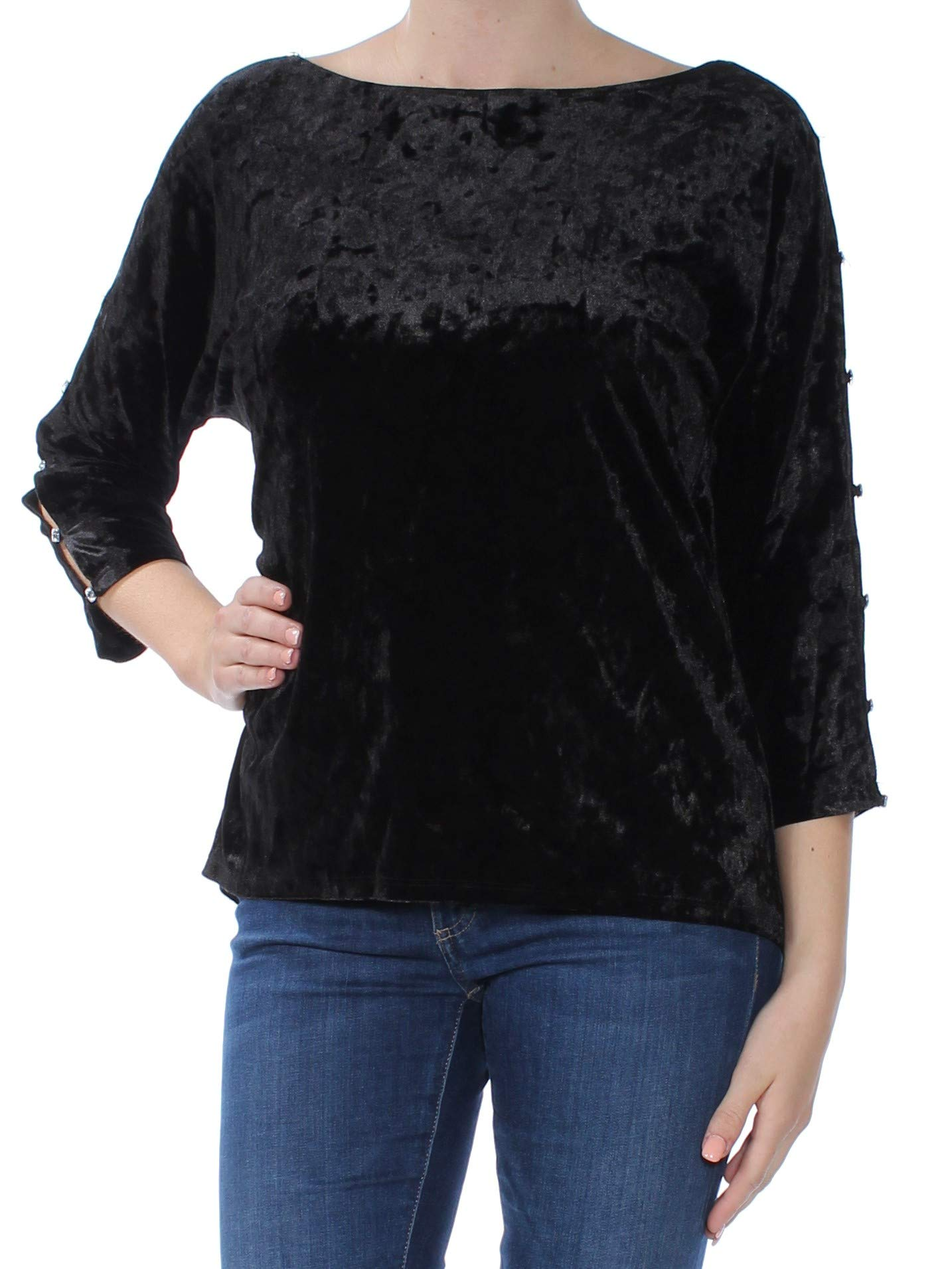 Cable /& Gauge Womens 3//4 Sleeve Embellished Neckline Top Casual Blouse