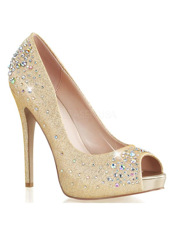 "HEI22R/NUFA Fabulicious Shoes 5"" Heiress Nude Fabric Size: 10"