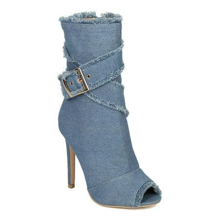 Women Frayed Stiletto Ankle Boot - Peep Toe Wraparound Bootie - Dressy Trendy Heel Boot - HC44 by DbDk Collection