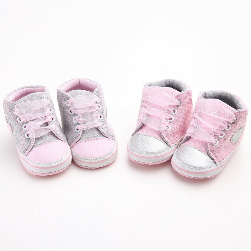 Newborn Baby Girls Soft Sole lACE Crib Shoes Anti-slip Sneaker Prewalker White 0-6M