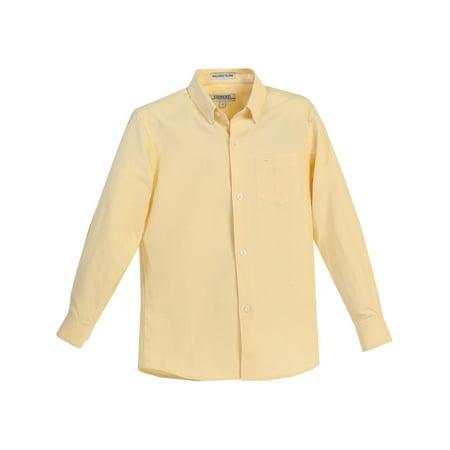 Gioberti Little Boys Yellow Chest Pocket Long Sleeved Oxford Dress - Boys Dress Up Chest