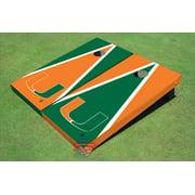 University Of Miami Alternating Triangle Cornhole Boards