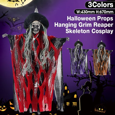 Jack Skeleton Decorations (Halloween Hanging Ghost Voice Activated Glowing Red Eyes Grim Reaper Skeleton Cosplay Apparel Scary Decoration)