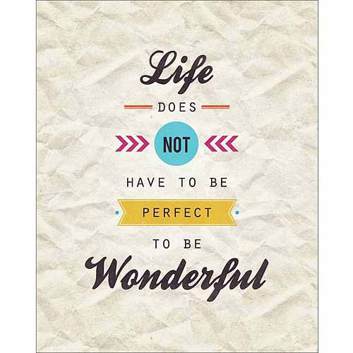 Perfect Vs. Wonderful Modern Vector Banner Inspirational Typography Tan & Brown Canvas Art by Pied Piper Creative