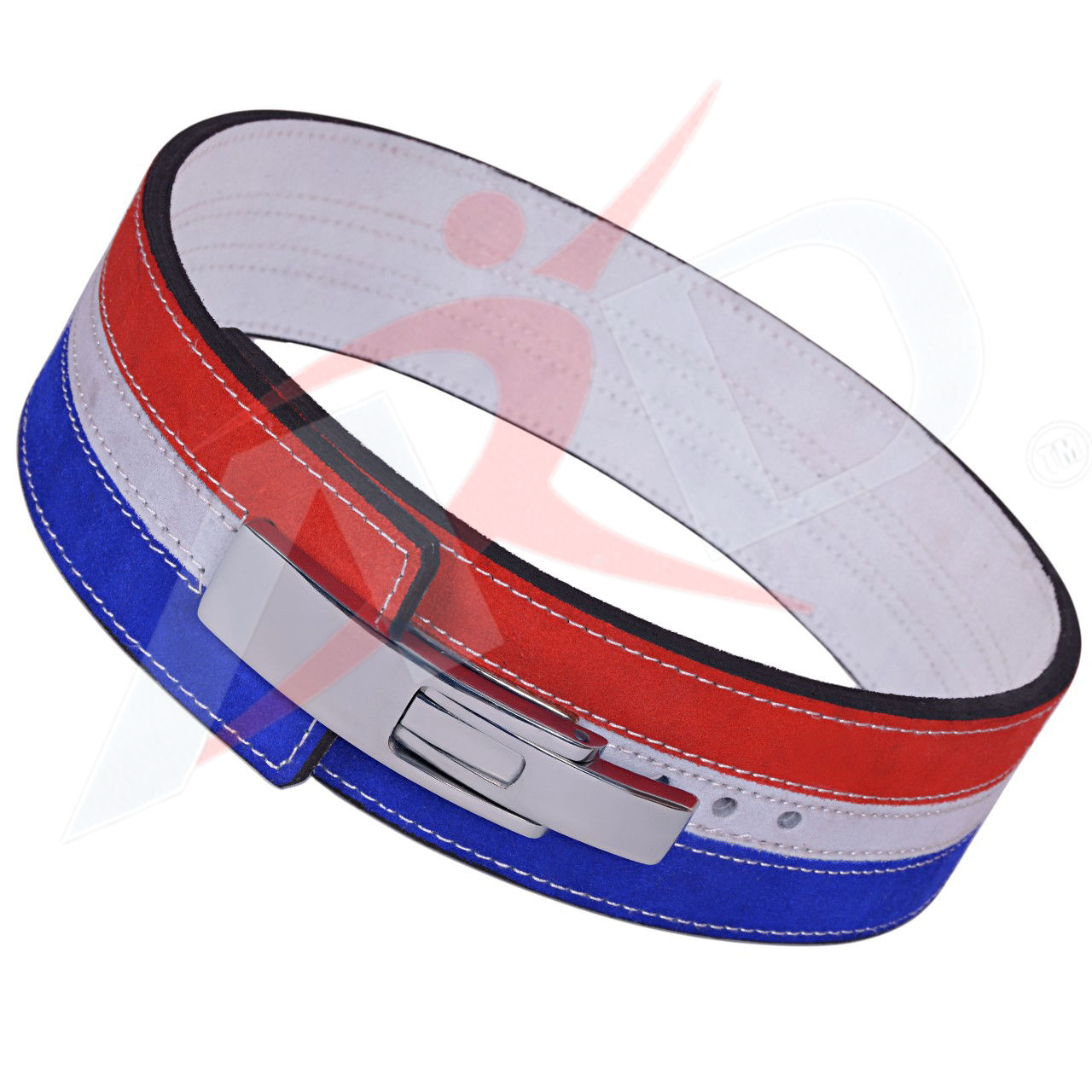 ARD CHAMPS™ Weight Power Lifting Leather Lever Pro Belt Gym Training Red-White-Blue Xtra Small