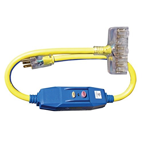 voltec 04-00102 3 ft. 20 amp gfci power block with lighted end - blue & yellow, case of 6