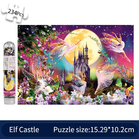 234 Pcs Mini Test Tube Puzzle Jigsaw Intelligence Educational Interesting Toy Adults Decompression Game Puzzles Personalized DIY Kids Gift Indoor Games Starry Sky Sunflowers Tomcat Elf Castle
