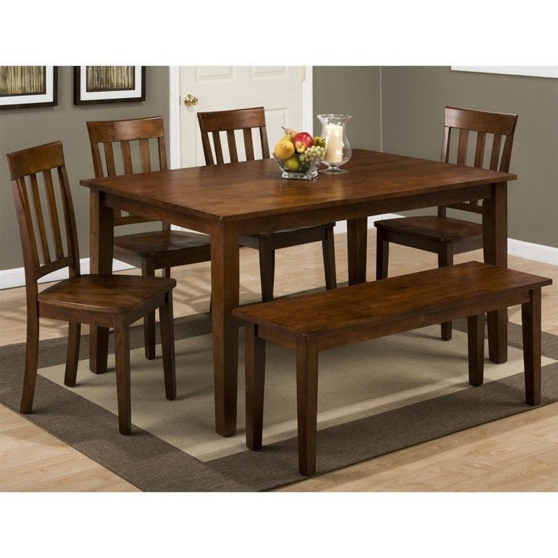 Jofran Simplicity 6 Piece Rectangle Dining Set with Bench in Caramel