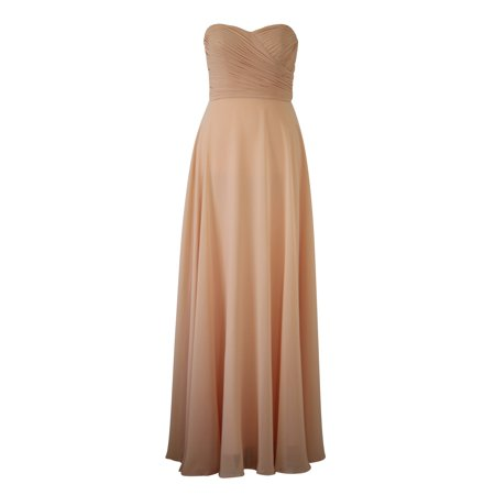 Faship Womens Elegant Strapless Pleated Sweetheart Neckline Long Formal Dress - Long Formal Dress