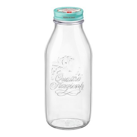 Bormioli Rocco Quattro Stagioni Vintage Glass Bottle With Air-Tight Lid For Home Canning - BPA Free, Food & Heat Safe, Odor & Stain Proof 1 Liter 33.75 Oz - Clear Blue