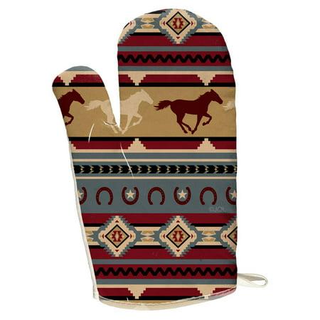 Horses Oven Mitt - Southwestern Wild Horse Mustang Pattern All Over Oven Mitt